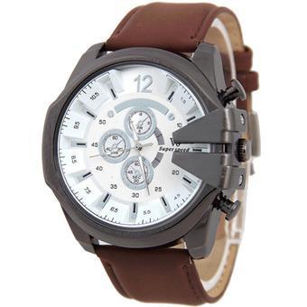 V6 Jam Tangan Fashion Pria Strap Kulit Sintetis Wristwatch Analog Casual Men Leather Watch