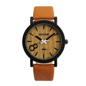 Vintage Men Wooden Dial Quartz Casual Brown Leather Wrist Watch