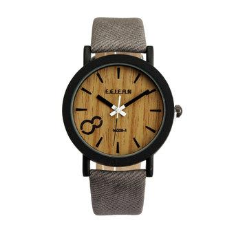 Vintage Men Wooden Dial Quartz Casual Leather Wrist watch