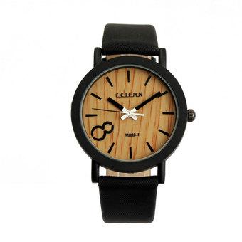 Vintage Wooden Dial Quartz Casual Black Leather Wrist watch (Intl)