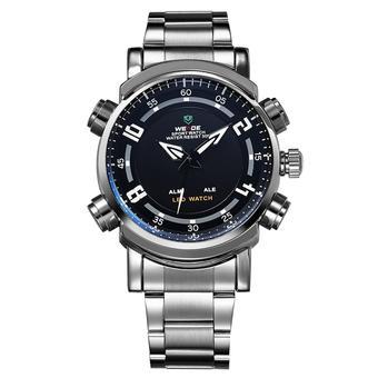 WEIDE Men's Dual Time Digital LED Display Waterproof Stainless Steel Sports Watch (Black) (