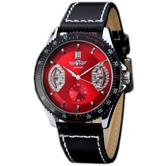 WINNER Automatic Mechanical Calendar Leather Strap Mens Sport Watch Red Dial WW166 (Intl)
