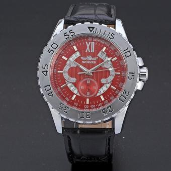 WINNER Calendar Automatic Mechanical Leather Strap Mens Sport Watch Red Dial WW091 (Intl)