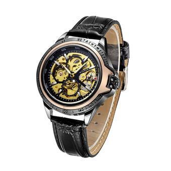 WINNER Luxury Skeleton Automatic Men Mechanical Watch Luminous PU Leather Hollow-out Self-winding Business Man Casual Wristwatch with Box- Intl