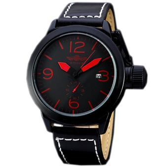 WINNER Men's Automatic Mechanical Mens Sport Watch Black Leather Red Numbers WW155 (Intl)