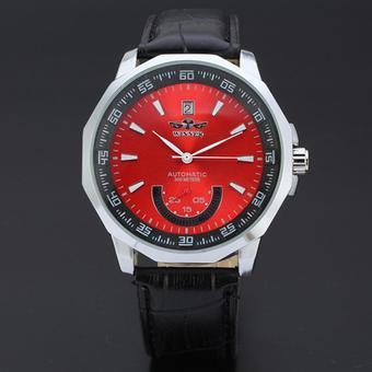 WINNER Sport Style Automatic Mechanical Leather Strap Mens Watch Red Dial WW170 (Intl)