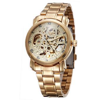 Winner Skeleton Design Auto Mechanical Watch Stainless Steel Material Gold - Intl
