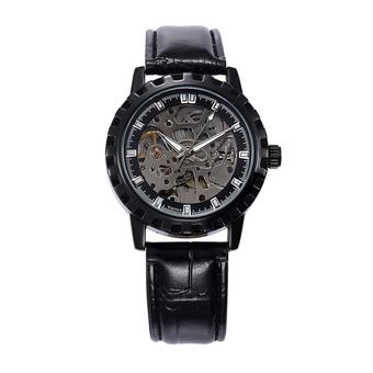 Winner military Skeleton Automatic Mechanical Leather Strap Wristwatch (Intl)