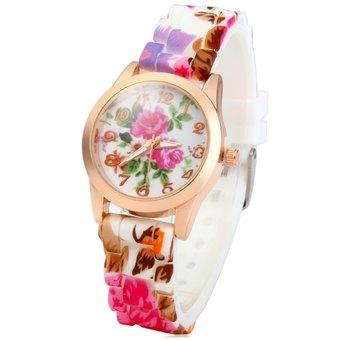 Women Silicone Printed Flower Causal Quartz Wrist Watch with Small Golden Round Dial Case Design (