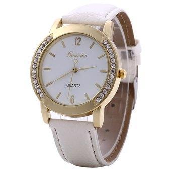 Women Wristwatch Artificial Diamond Leather Band Quartz Watch for Ladies (WHITE) - Intl