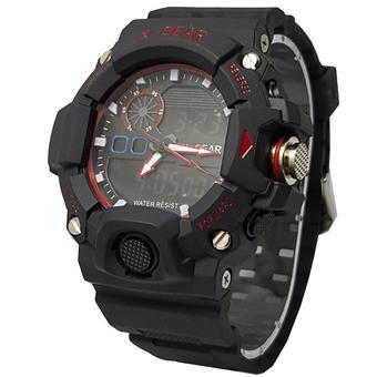 Xgear X810DT Dual Time Jam Tangan Pria Rubber Strap Hitam list Merah