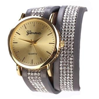 Yika Hot Fashion Women Synthetic Leather Sequins Button Round Casual Party Wristwatch (Gray) (